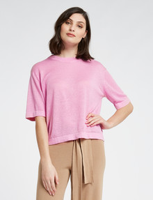 Mineral Riko Linen Knitted Tee, Sherbet product photo