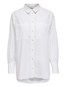 ONLY Britney Long-Sleeve Long Shirt, Bright White product photo