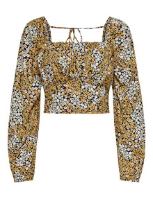 ONLY Mollie Long-Sleeve Boho Top, Yellow Floral product photo
