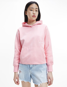 Calvin Klein Off Placed Monogram Hoodie, Soft Berry product photo