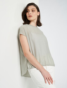 Mineral Fern Drawstring Hem Top, Sprout product photo