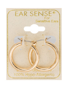Earsense Gold Faceted Click Hoop Earrings, 15mm product photo